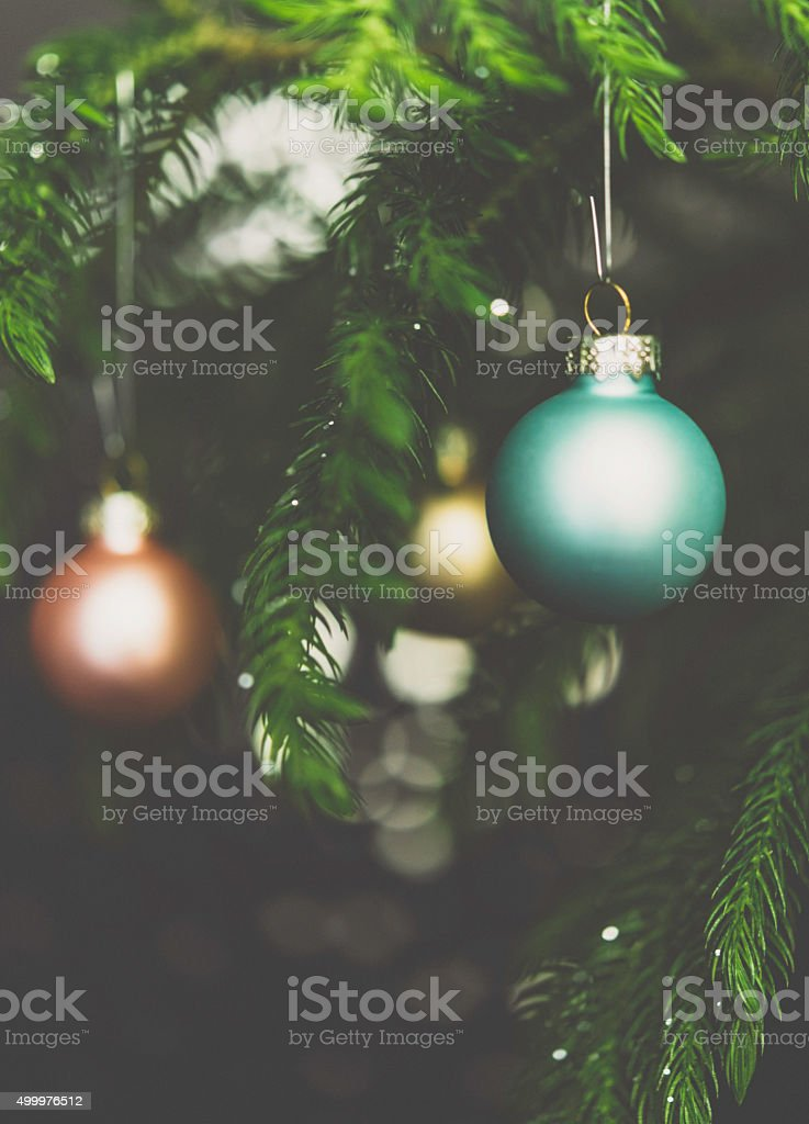 Pastel Christmas Ornaments.Pastel Colored Christmas Ornaments On Christmas Tree