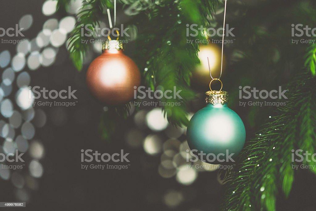 Pastel De Navidad Con Ramas De Arbol De Navidad Ornamentos Stock