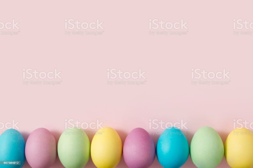 Pastel Colored Easter Eggs stock photo