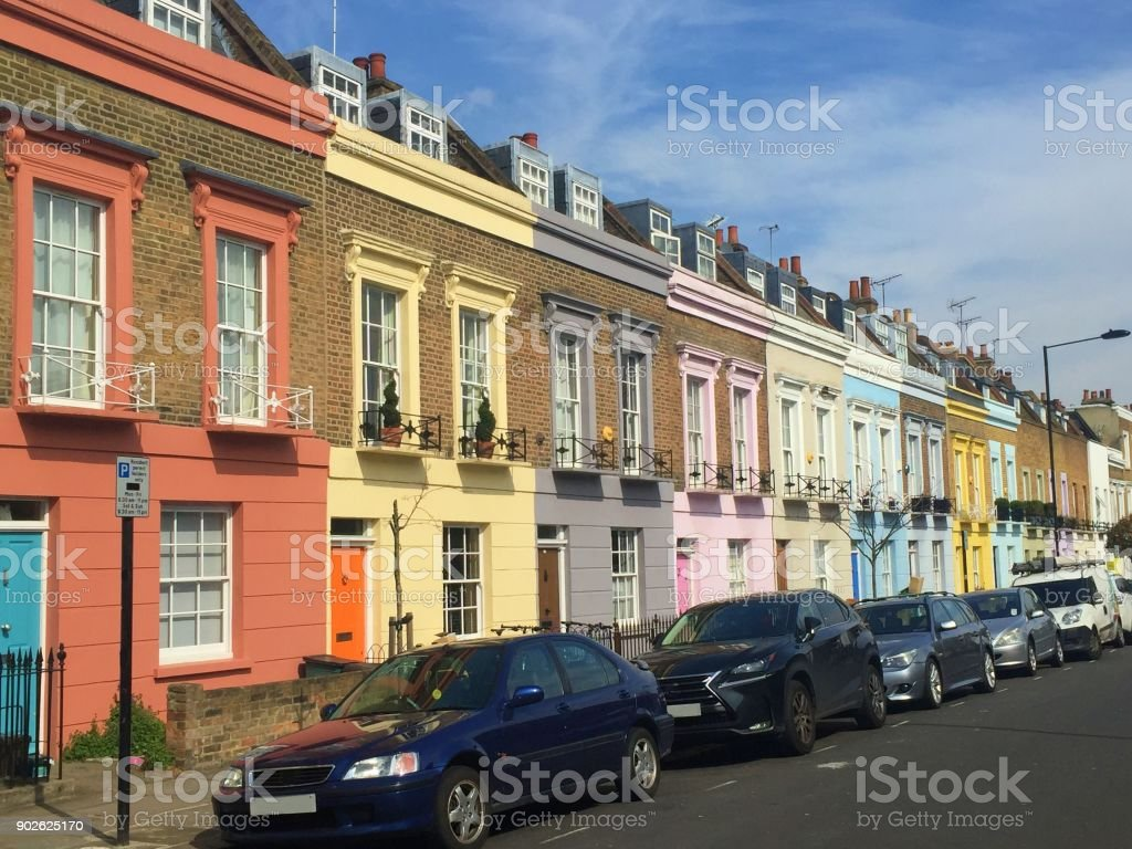 Pastel colored houses in the streets of London stock photo
