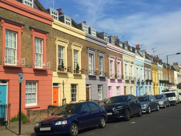 Pastel colored houses in the streets of London