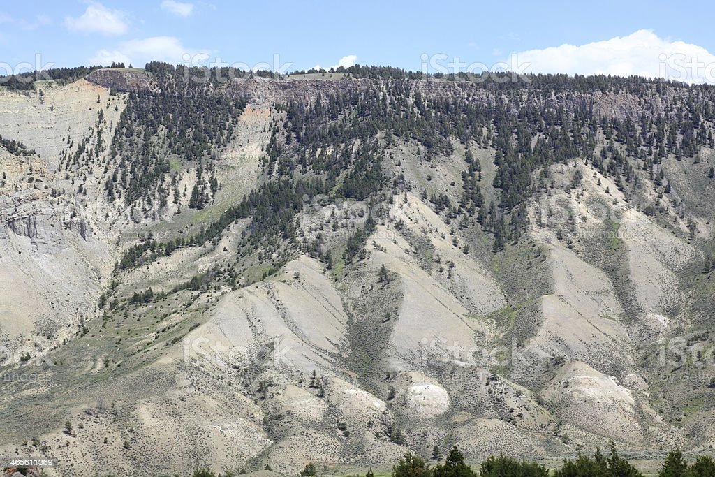 pastel colored mountains near mammoth springs yellowstone royalty-free stock photo