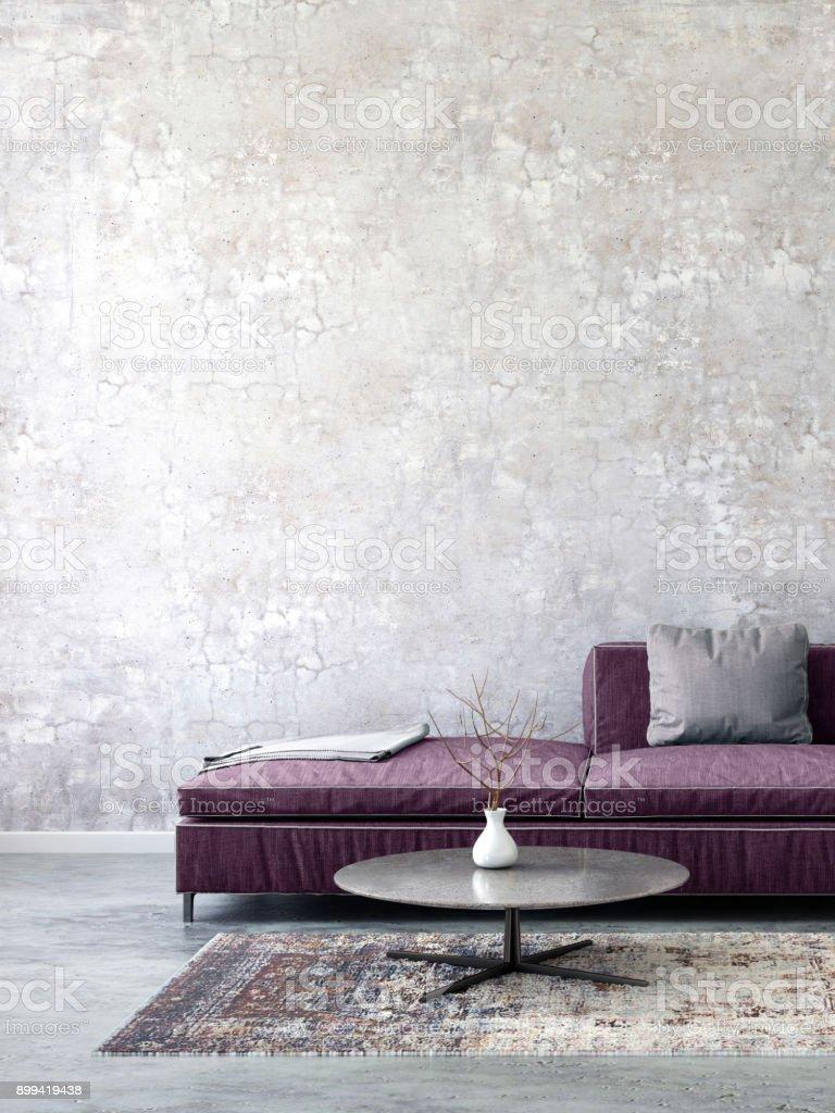 Wunderbar Sofa Pastell Foto Von Farbigen Mit Leeren Wandschablone Lizenzfreies Stock-foto