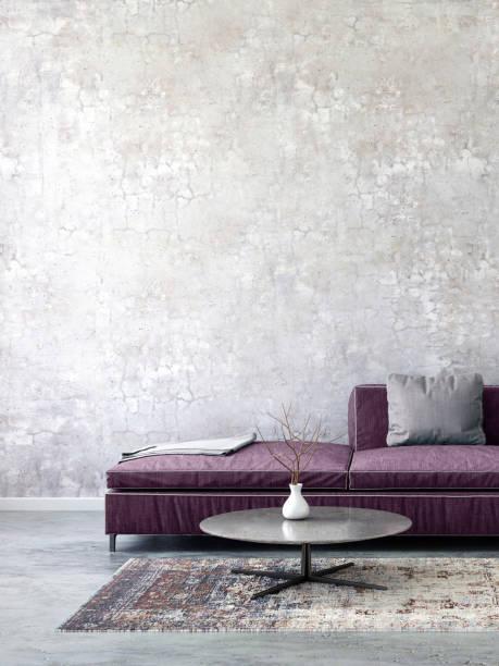 pastell farbigen sofa mit leeren wandschablone - schick moderne schlafzimmer stock-fotos und bilder