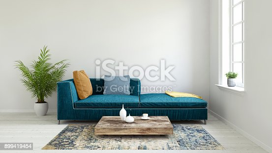 istock Pastel colored sofa with blank wall template 899419454