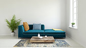 Pastel colored sofa with blank wall template