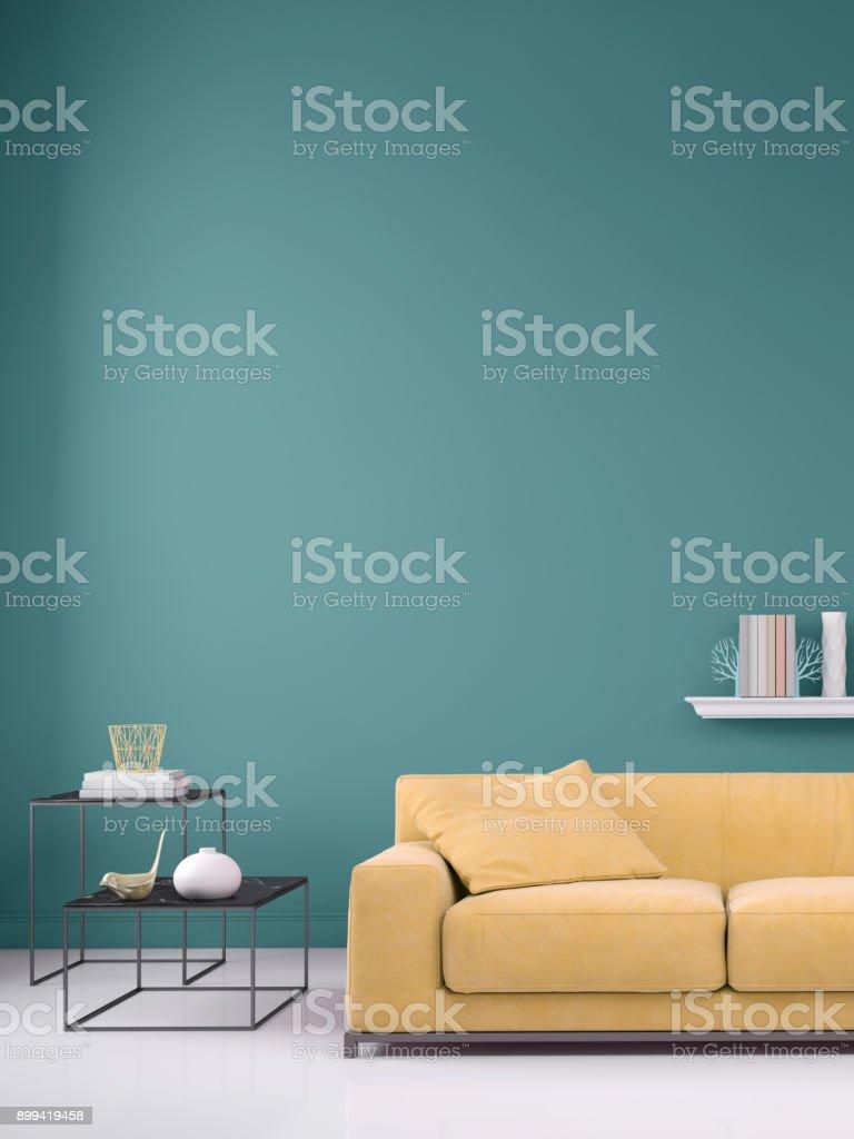 Pastel gekleurde sofa met lege muur sjabloon - Royalty-free Appartement Stockfoto