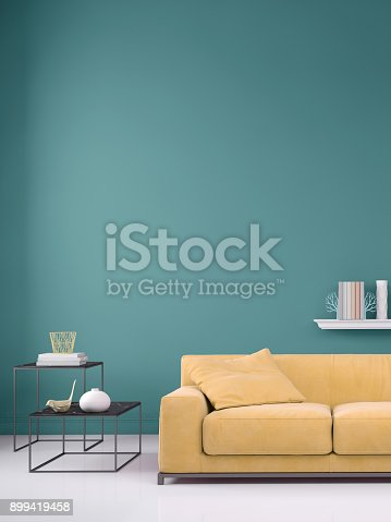 istock Pastel colored sofa with blank wall template 899419458