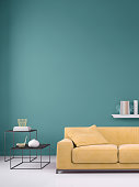 Interior scene with pastel colored sofa with colorful pillows, blank wall for copy space. Modern interior template for copy space. shelf with decoration,  coffee table with  vase. designer copy space template