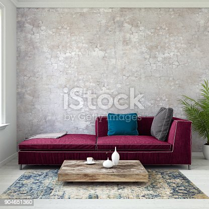 istock Pastel colored sofa with blank wall template 904651360