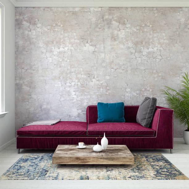 pastell farbigen sofa mit leeren wandschablone - lila, grün, schlafzimmer stock-fotos und bilder