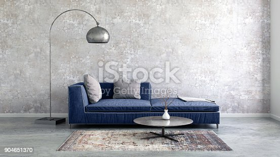istock Pastel colored sofa with blank wall template 904651370