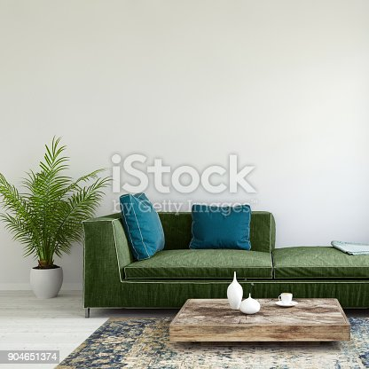 Interior scene with pastel colored sofa with colorful pillows, blank wall for copy space. Modern interior template for copy space. large plant, carpet and coffee table with  vase.