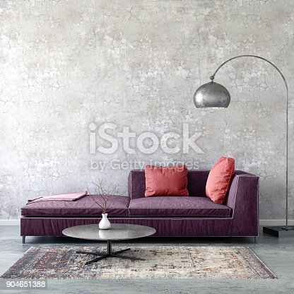 istock Pastel colored sofa with blank wall template 904651388
