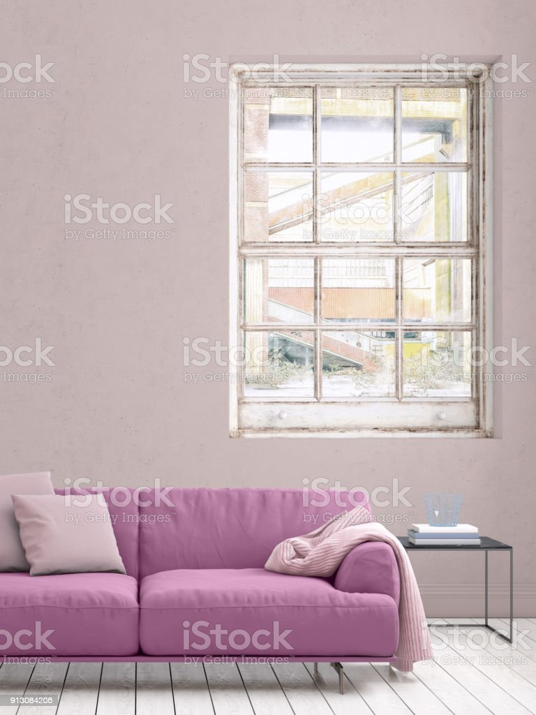 Pastel Colored Sofa With Blank Wall Template Stock Photo More