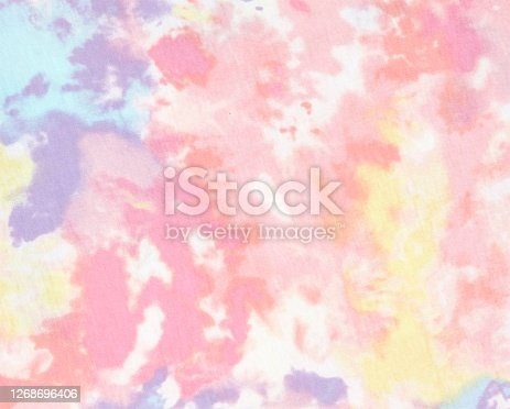 Pastel colored tie dye printed fabric texture
