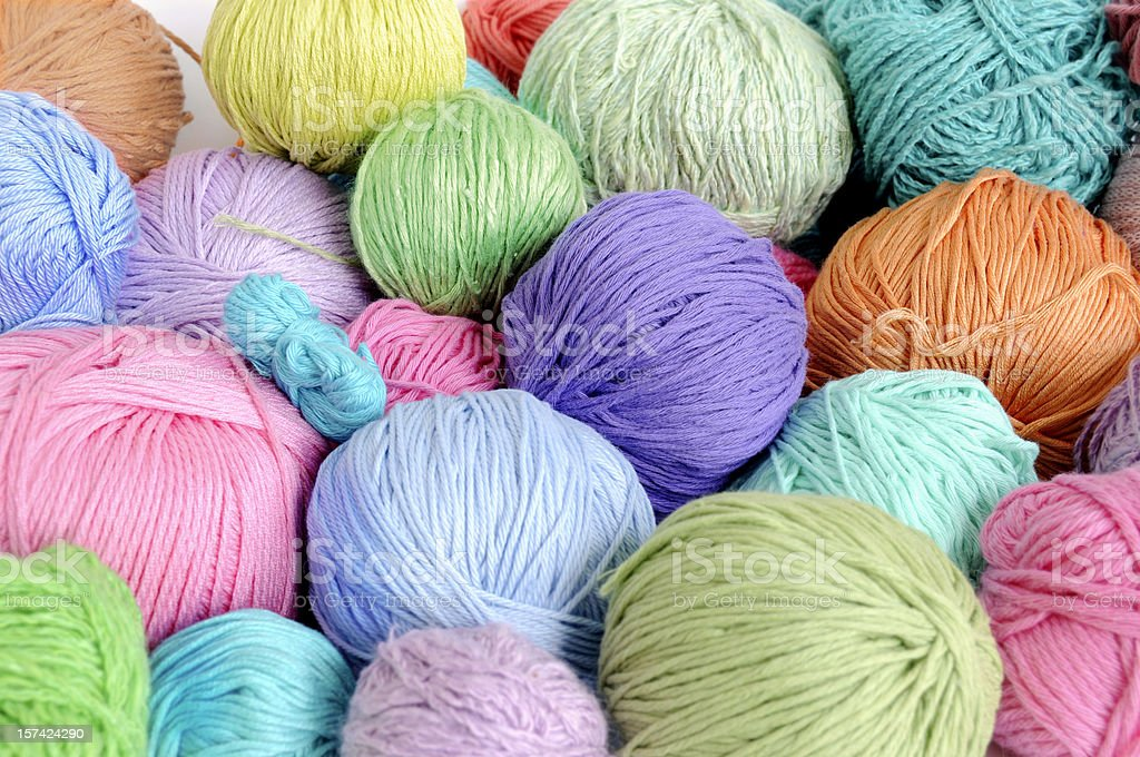 Pastel colored yarn royalty-free stock photo