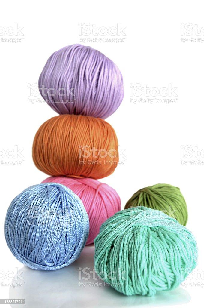 Pastel colored yarn, Shallow DOF royalty-free stock photo