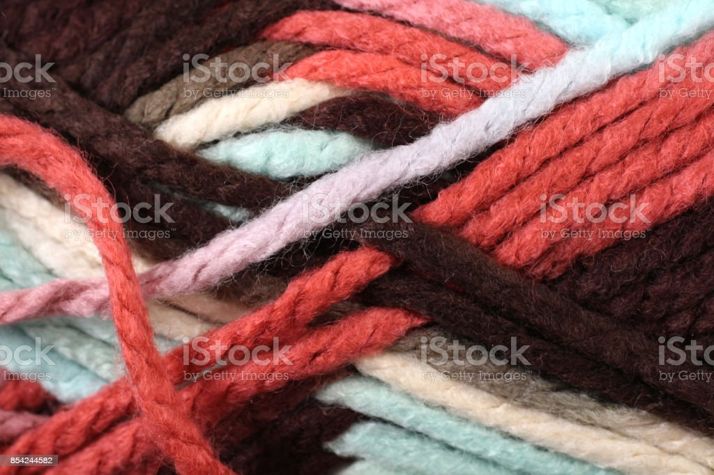 Pastel Colored Yarn Texture Close Up stock photo