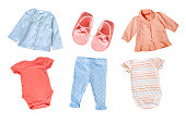 istock Pastel colors cotton baby child girl clothes set collage isolated. 666314716