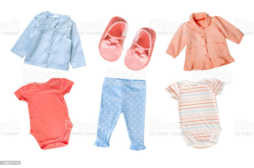 Pastel colors cotton baby child girl clothes set collage isolated. stock photo