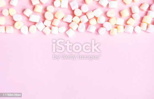 157527860 istock photo Pastel colors mini marshmallows. 1176842854