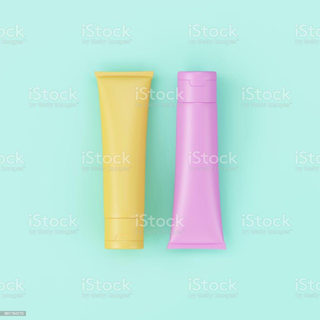 Pastel Cream Cosmetic Package minimal concept art. stock photo