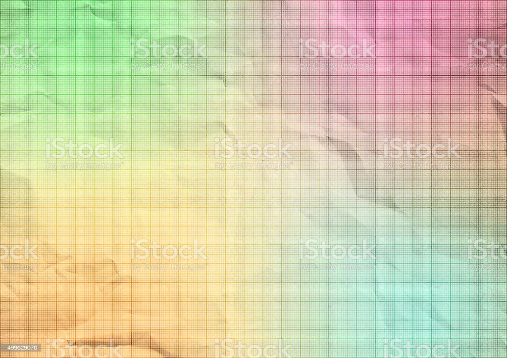 Pastel crumpled graph paper background texture. stock photo