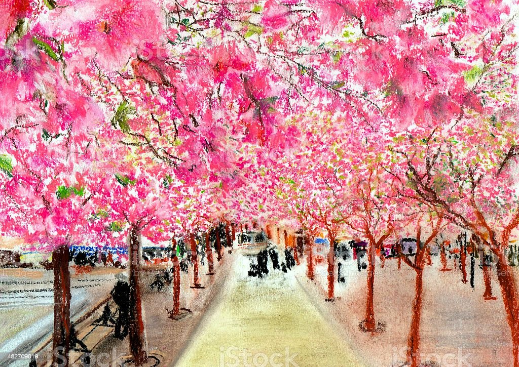Pastel Drawing of Path with Cherry Blossoms royalty-free stock photo