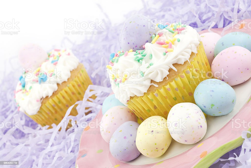 Pastel Easter Cupcakes royalty-free stock photo