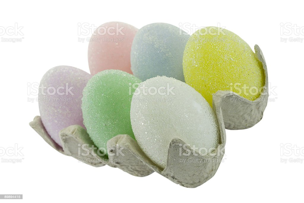 Pastel Easter Eggs in a Crate royalty-free stock photo