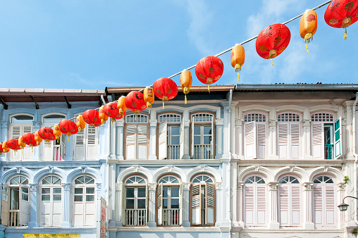 Pastel facades, Pagoda Street, Chinatown, Outram, Singapore,Malaysia