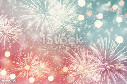 636207118 istock photo Pastel fireworks at New Year 626790700