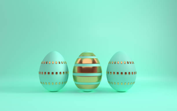 Pastel green and glossy golden easter eggs on green background. 3d render, digitally generated template. Happy Easter big hunt or sale banner stock photo