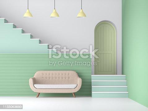 istock Pastel green color living room 3d render 1133063693