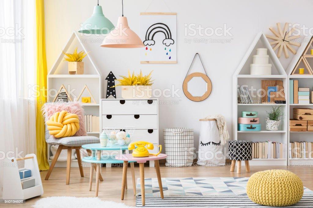 Pastel Kids Playroom Interior Stock Photo Download Image