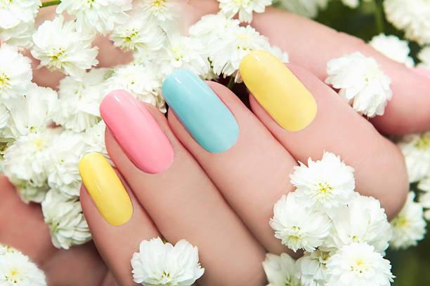 Pastel manicure. stock photo
