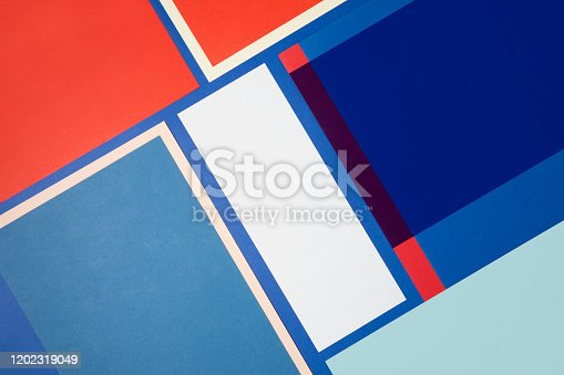 Sheets of color papers for abstract geometric background
