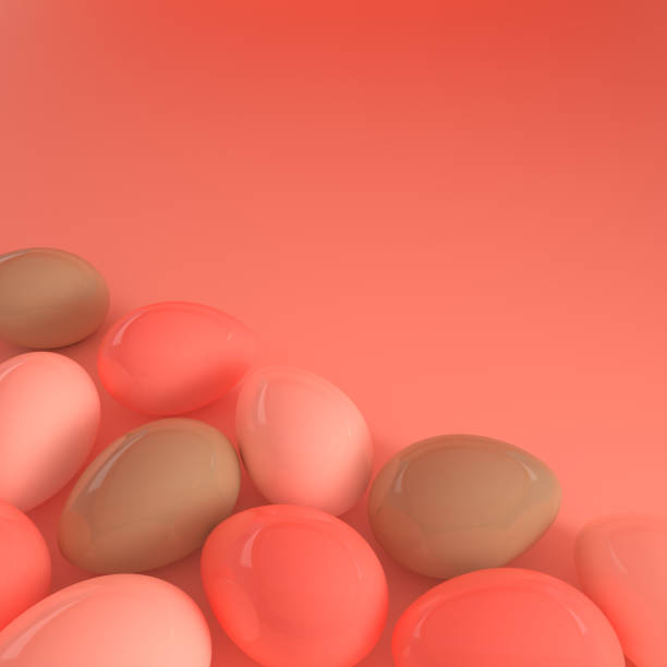 Pastel pink and green glossy easter eggs on pink background. 3d render, digitally generated template. Happy Easter big hunt or sale banner stock photo