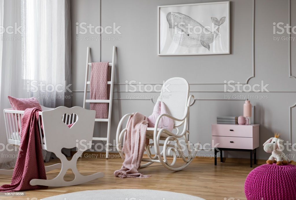 Fine Pastel Pink Blanket On White Rocking Chair In Spacious Baby Pabps2019 Chair Design Images Pabps2019Com