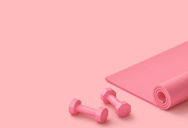 pastell rosa fitness bakgrund - hantel bildbanksfoton och bilder