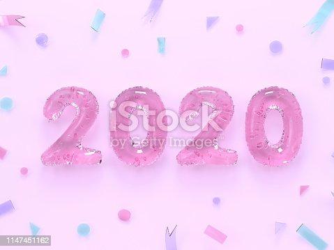 945748362istockphoto pastel pink flat lay minimal scene 2020 number text/type 3d rendering 1147451162