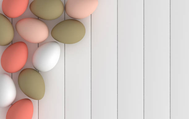 Pastel pink, green and red glossy easter eggs on white wooden background. 3d render, digitally generated template. Happy Easter big hunt or sale banner stock photo