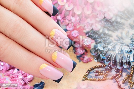 istock Pastel pink manicure. 495231758