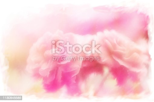 612015846 istock photo Pastel Pink Painted Roses on abstract background 1130845585