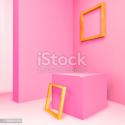 1129130415 istock photo Pastel Pink room for product display with geometric 3d empty gold frame. Pink background. 1130831025