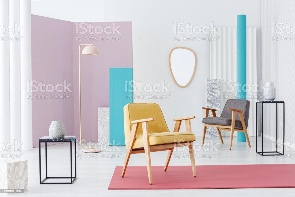 Pastel retro living room interior - Royalty-free Apartment Stock Photo