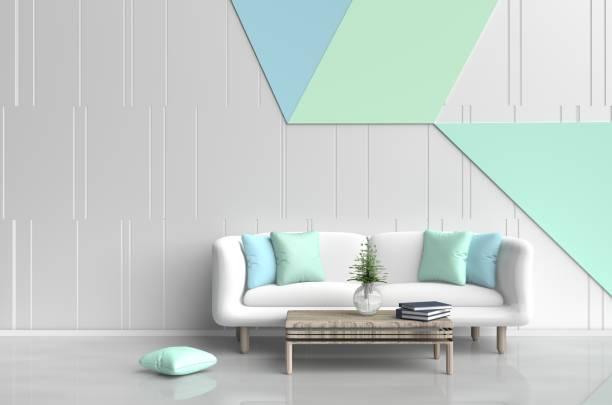 pastell zimmer sind dekoriert mit weißen sofa, baum in glasvase, licht grün und hell blaue kissen, blaue buch, pastell betonmauer ist gittermuster und weißem zement-boden. 3d-rendering - hellblaues zimmer stock-fotos und bilder