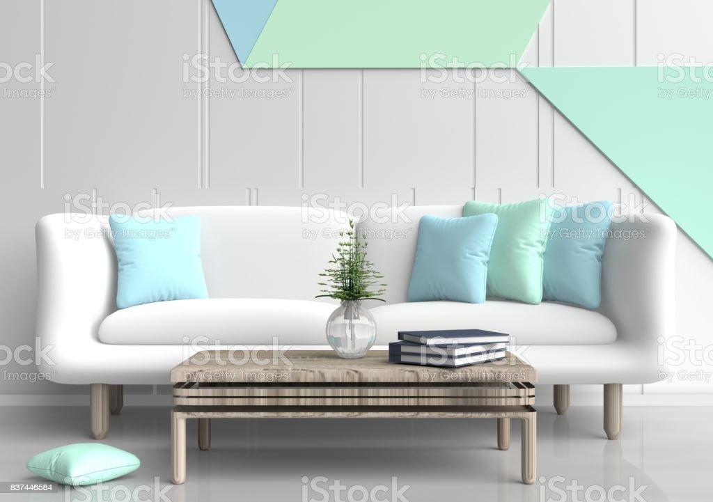 Pastell Zimmer Sind Dekoriert Mit Weissen Sofa Baum In Glasvase Licht