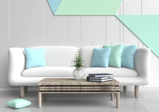 pastell zimmer sind dekoriert mit weißen sofa, baum in glasvase, licht grün und hell blaue kissen, blaue buch, pastell betonmauer ist gittermuster und weißem zement-boden. 3d-rendering. - hellblaues zimmer stock-fotos und bilder